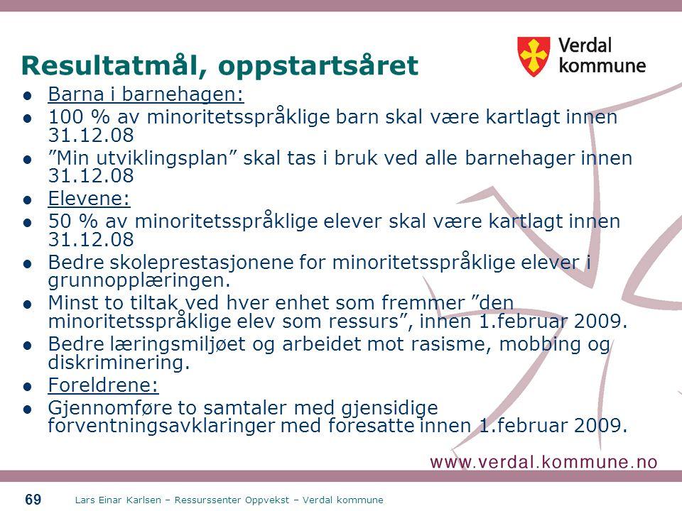 Lars Einar Karlsen – Ressurssenter Oppvekst – Verdal kommune 69 Resultatmål, oppstartsåret Barna i barnehagen: 100 % av minoritetsspråklige barn skal