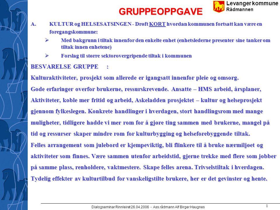Levanger kommune Rådmannen Dialogseminar Rinnleiret 26.04.2006 - Ass.rådmann Alf Birger Haugnes 2 Kulturtiltak for ansatte, golf, skitur, teatertur, lite påmelding.