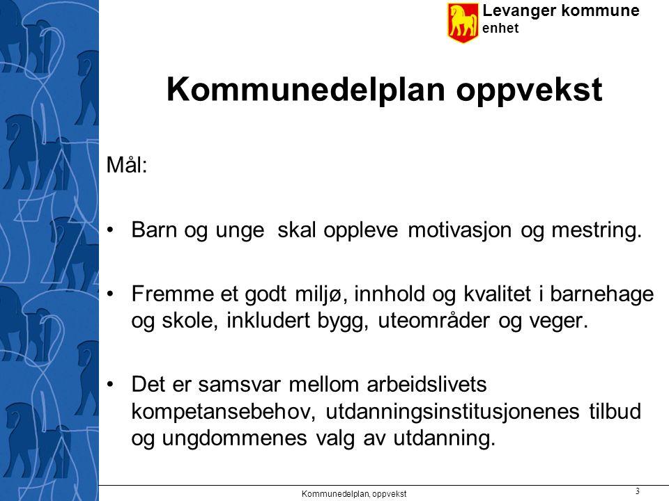 Levanger kommune enhet Kommunedelplan oppvekst Mål: Barn og unge skal oppleve motivasjon og mestring.