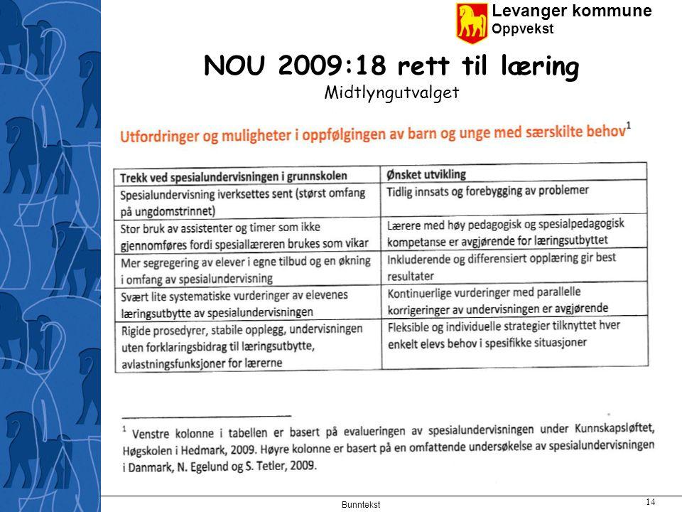 Levanger kommune Oppvekst Bunntekst 14 NOU 2009:18 rett til læring Midtlyngutvalget