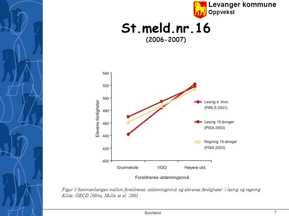 Levanger kommune Oppvekst Bunntekst 3 St.meld.nr.16 (2006-2007) Figur 5 Sammenhengen mellom foreldrenes utdanningsnivå og elevenes ferdigheter i lesing og regning Kilde: OECD 2004a, Mullis et al.