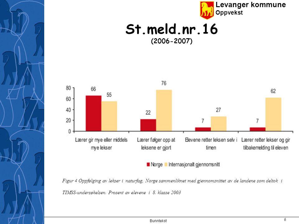 Levanger kommune Oppvekst Bunntekst 6 St.meld.nr.16 (2006-2007) Figur 4 Oppfølging av lekser i naturfag, Norge sammenliknet med gjennomsnittet av de landene som deltok i TIMSS-undersøkelsen.