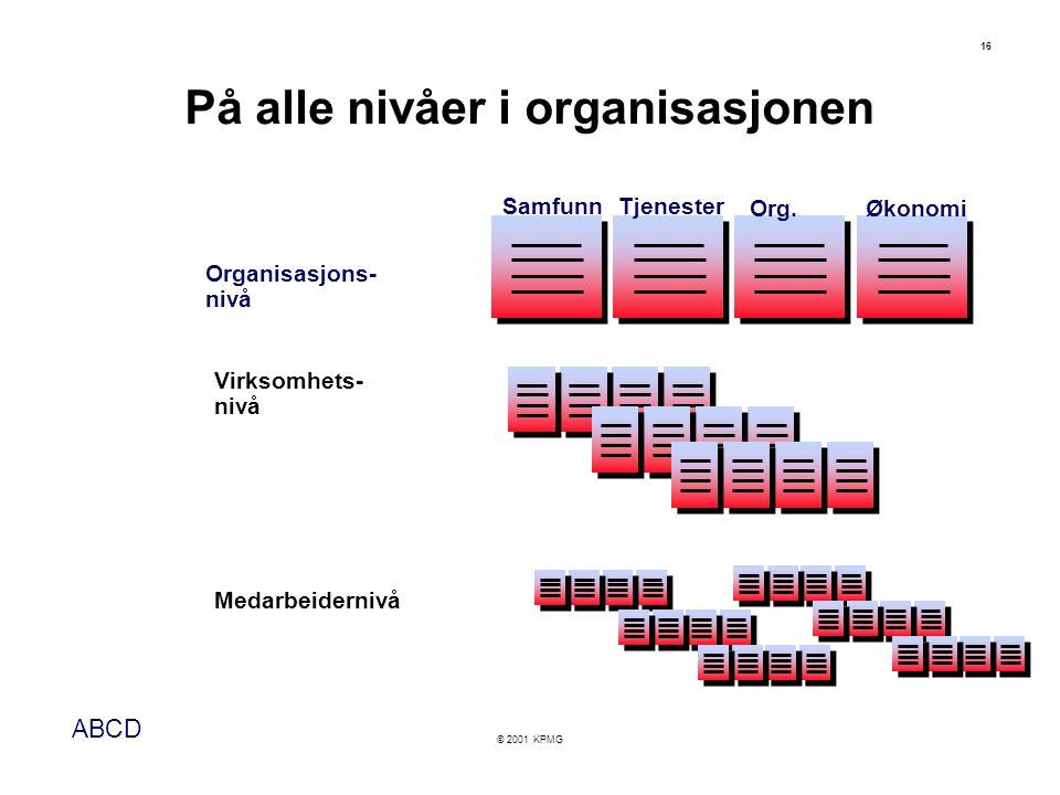 ABCD © 2001 KPMG 16 Organisasjons- nivå Samfunn Tjenester Org.