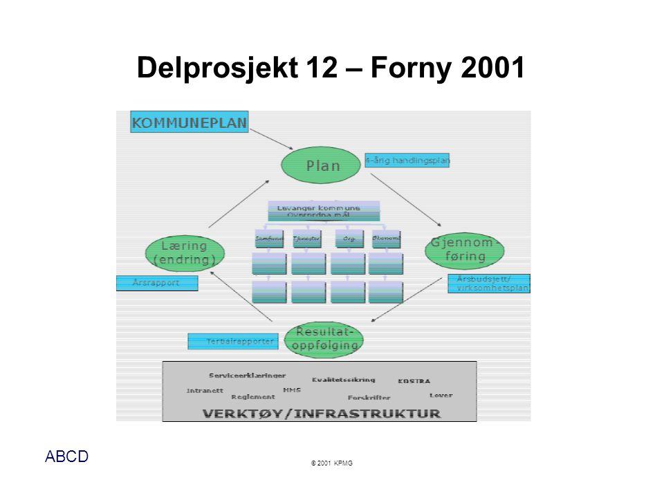 ABCD © 2001 KPMG Delprosjekt 12 – Forny 2001