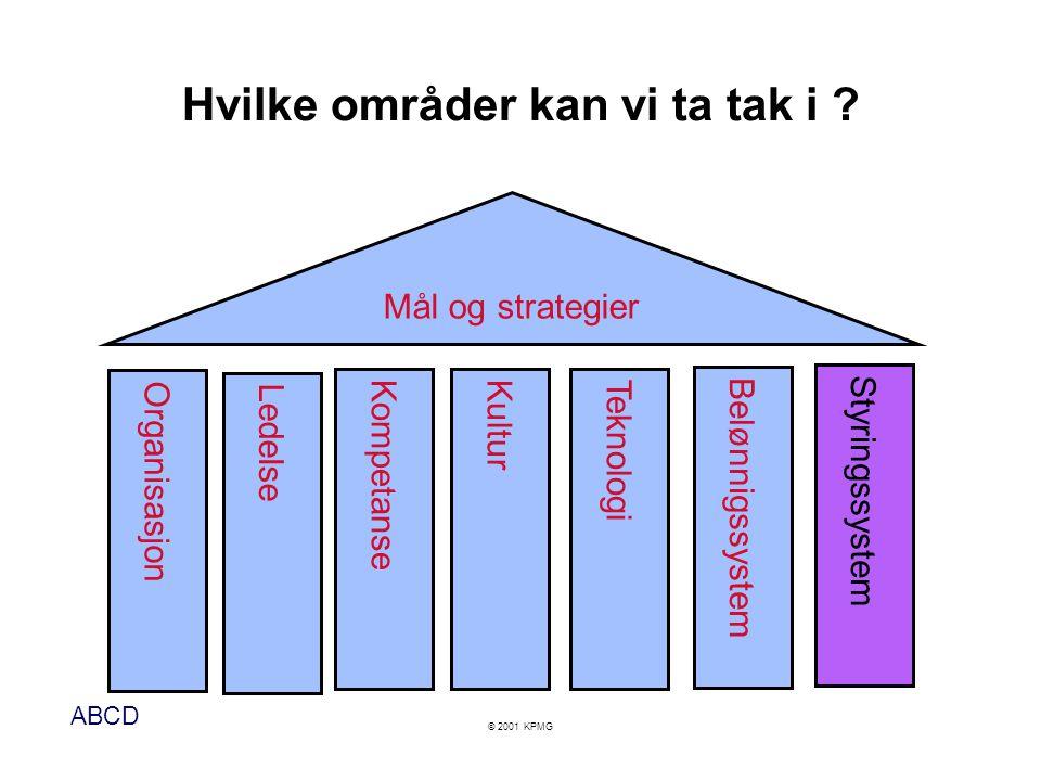 ABCD © 2001 KPMG Kritiske suksessfaktorer Hva må vi lykkes med .