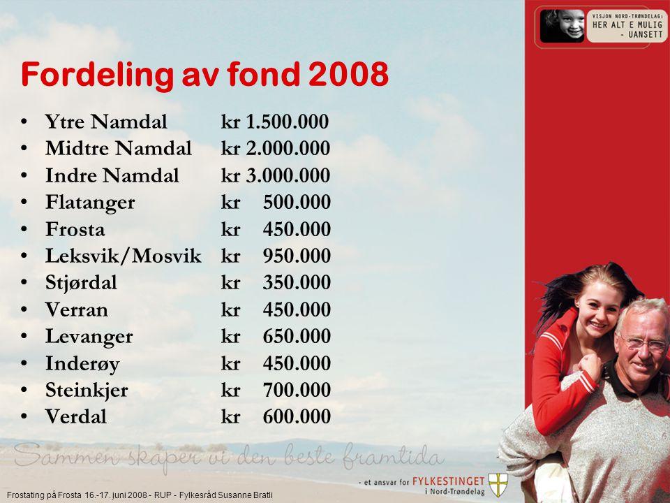 Frostating på Frosta 16.-17. juni 2008 - RUP - Fylkesråd Susanne Bratli Fordeling av fond 2008 Ytre Namdalkr 1.500.000 Midtre Namdalkr 2.000.000 Indre
