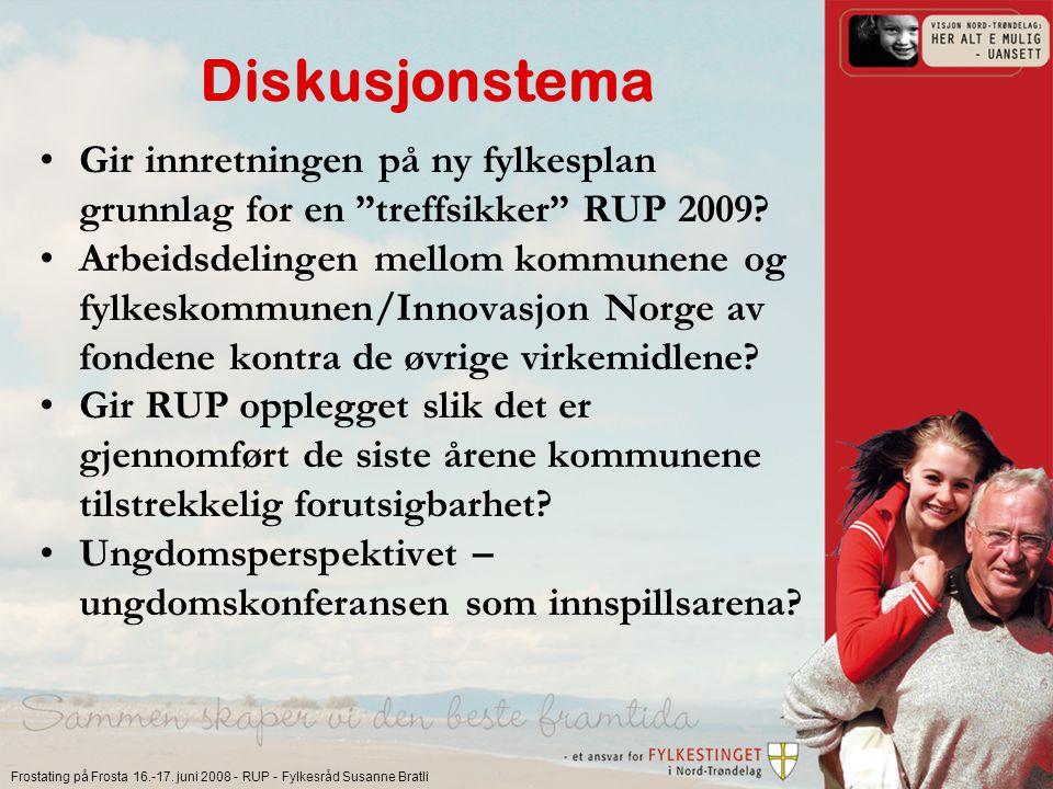 """Frostating på Frosta 16.-17. juni 2008 - RUP - Fylkesråd Susanne Bratli Diskusjonstema Gir innretningen på ny fylkesplan grunnlag for en """"treffsikker"""""""