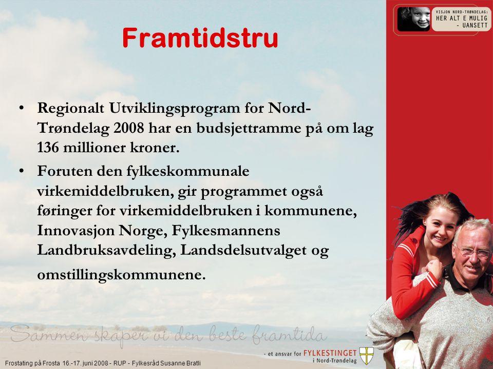 Frostating på Frosta 16.-17. juni 2008 - RUP - Fylkesråd Susanne Bratli Framtidstru Regionalt Utviklingsprogram for Nord- Trøndelag 2008 har en budsje