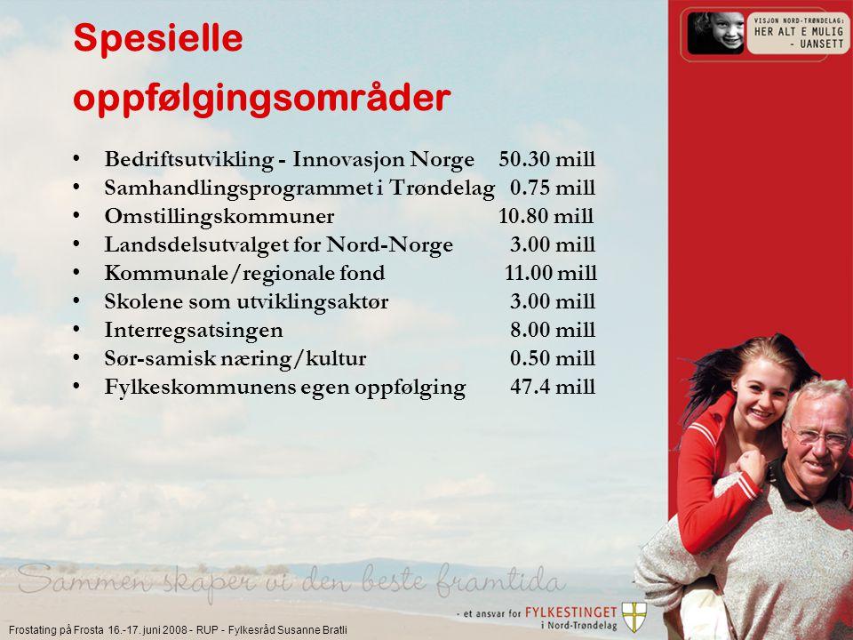 Frostating på Frosta 16.-17. juni 2008 - RUP - Fylkesråd Susanne Bratli Spesielle oppfølgingsområder Bedriftsutvikling - Innovasjon Norge 50.30 mill S