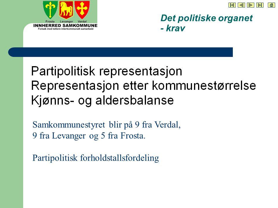 Det politiske organet - krav Samkommunestyret blir på 9 fra Verdal, 9 fra Levanger og 5 fra Frosta.