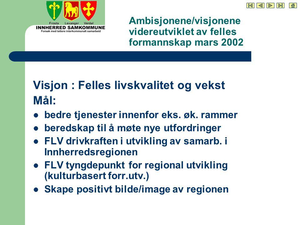 Ambisjonene/visjonene videreutviklet av felles formannskap mars 2002 Visjon : Felles livskvalitet og vekst Mål: bedre tjenester innenfor eks.