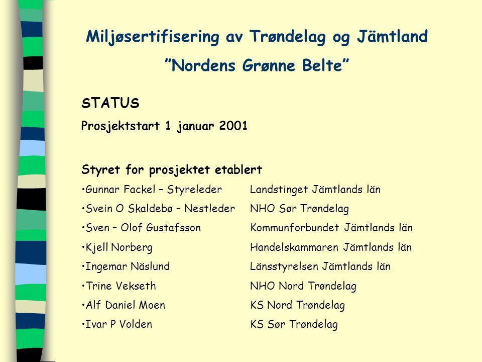 STATUS Prosjektstart 1 januar 2001 Styret for prosjektet etablert Gunnar Fackel – StyrelederLandstinget Jämtlands län Svein O Skaldebø – NestlederNHO