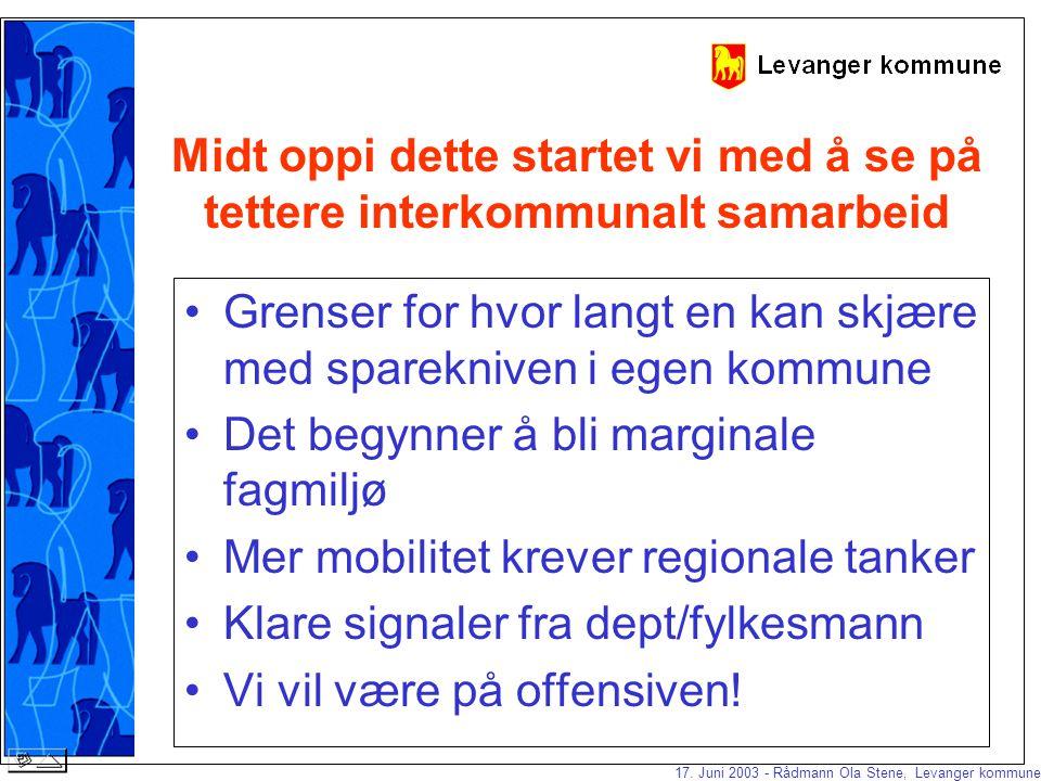 17. Juni 2003 - Rådmann Ola Stene, Levanger kommune Årsverksutvikling