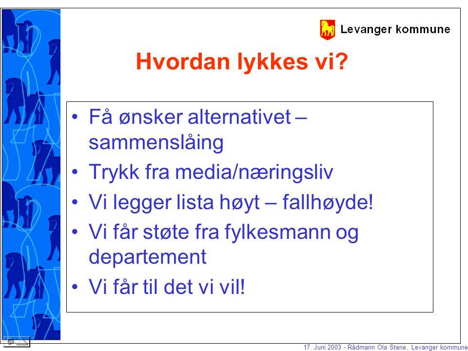 17.Juni 2003 - Rådmann Ola Stene, Levanger kommune Hvordan lykkes vi.