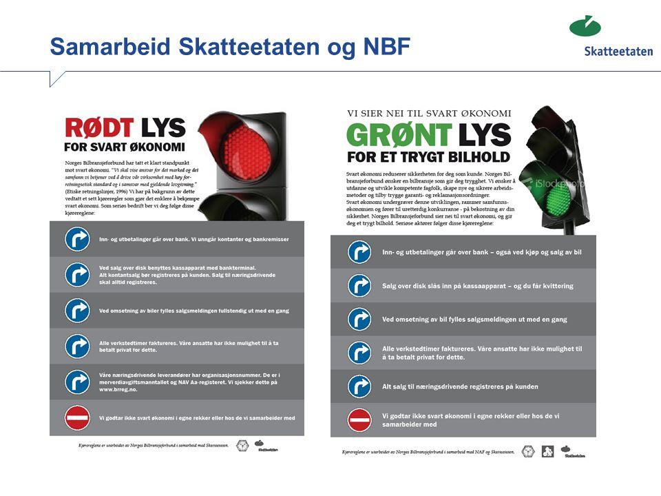 Kontrollaksjon mot NBF medlemmer Formål: Er det slik at NBF-medlemmer etterlever regelverket bedre enn andre? Kan vi finne en nåsituasjon – før man har tatt i bruk plakatene? Resultat: 80% hadde feil som medførte bokføringspålegg 80 bedrifter kontrollert, 66 med feil, 153 feil totalt Omfang av feil identisk med bilpleie/bakgårdsverksteder.