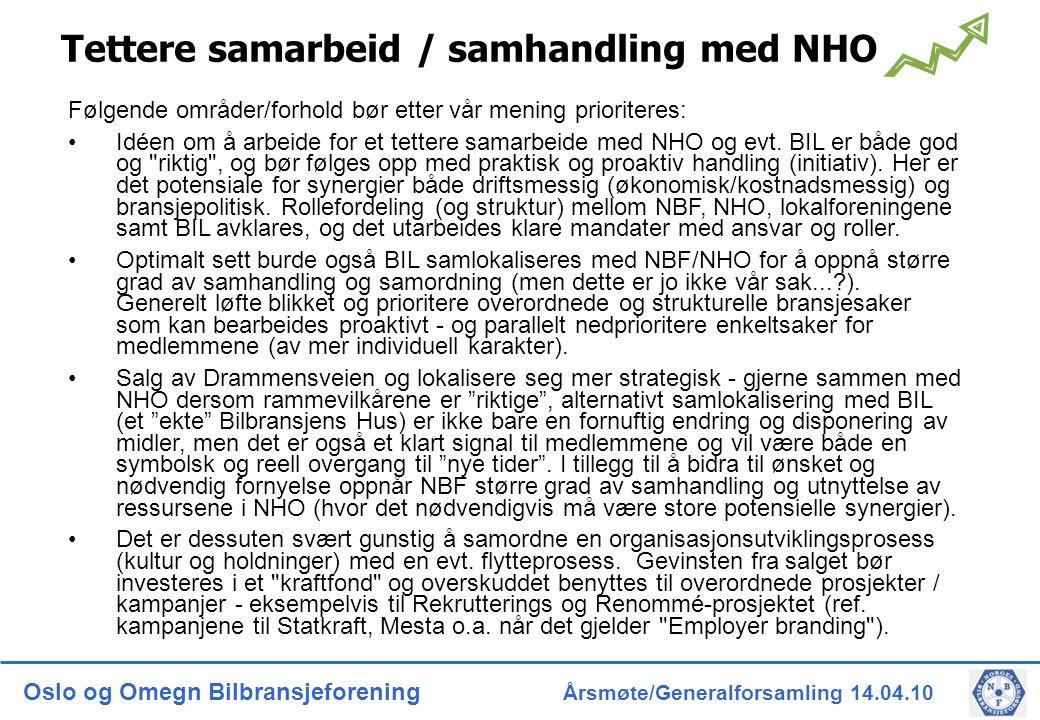 Oslo og Omegn Bilbransjeforening Årsmøte/Generalforsamling 14.04.10 Tettere samarbeid / samhandling med NHO Følgende områder/forhold bør etter vår mening prioriteres: Idéen om å arbeide for et tettere samarbeide med NHO og evt.