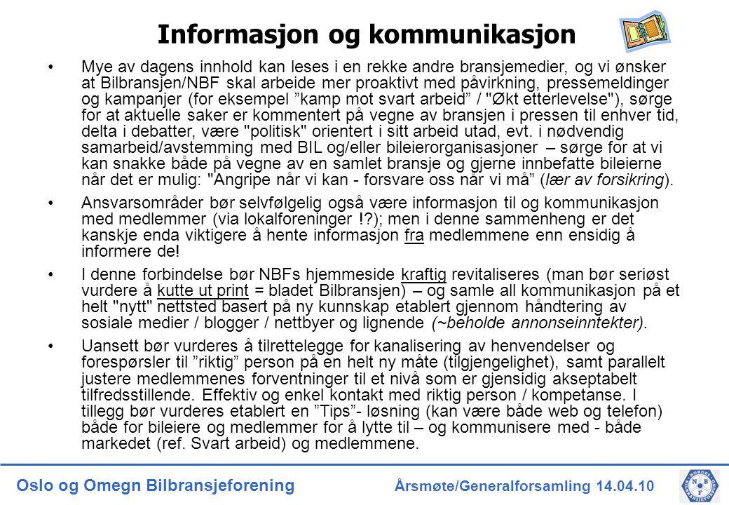 Oslo og Omegn Bilbransjeforening Årsmøte/Generalforsamling 14.04.10 Informasjon og kommunikasjon Mye av dagens innhold kan leses i en rekke andre bransjemedier, og vi ønsker at Bilbransjen/NBF skal arbeide mer proaktivt med påvirkning, pressemeldinger og kampanjer (for eksempel kamp mot svart arbeid / Økt etterlevelse ), sørge for at aktuelle saker er kommentert på vegne av bransjen i pressen til enhver tid, delta i debatter, være politisk orientert i sitt arbeid utad, evt.