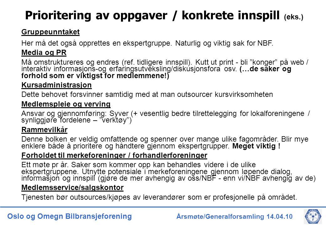 Oslo og Omegn Bilbransjeforening Årsmøte/Generalforsamling 14.04.10 Prioritering av oppgaver / konkrete innspill (eks.) Gruppeunntaket Her må det også opprettes en ekspertgruppe.
