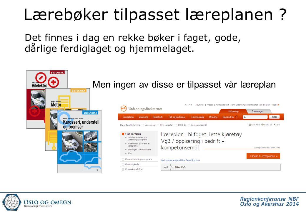 Regionkonferanse NBF Oslo og Akershus 2014 Men ingen av disse er tilpasset vår læreplan Lærebøker tilpasset læreplanen ? Det finnes i dag en rekke bøk