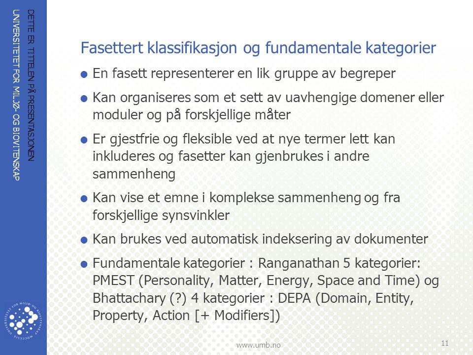 UNIVERSITETET FOR MILJØ- OG BIOVITENSKAP www.umb.no Fasettert klassifikasjon og fundamentale kategorier  En fasett representerer en lik gruppe av beg
