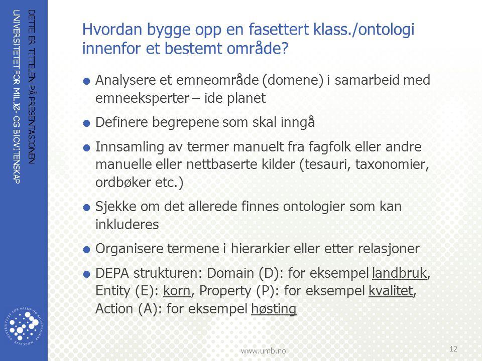 UNIVERSITETET FOR MILJØ- OG BIOVITENSKAP www.umb.no Hvordan bygge opp en fasettert klass./ontologi innenfor et bestemt område?  Analysere et emneområ