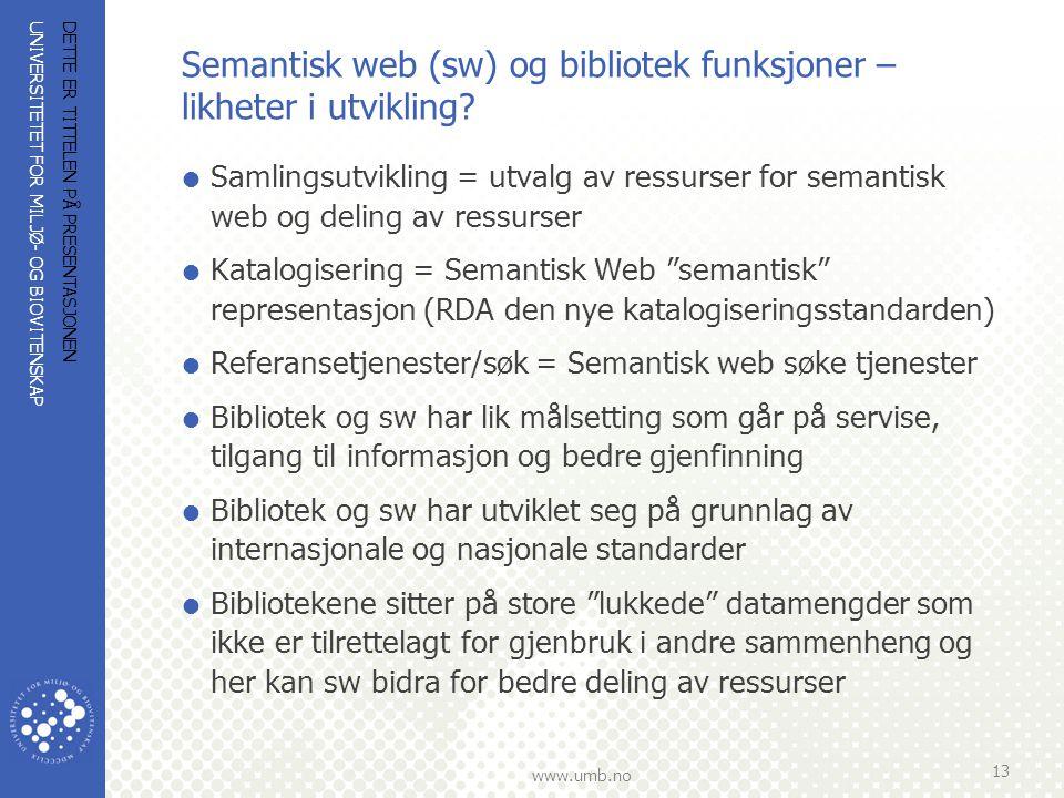 UNIVERSITETET FOR MILJØ- OG BIOVITENSKAP www.umb.no Semantisk web (sw) og bibliotek funksjoner – likheter i utvikling?  Samlingsutvikling = utvalg av
