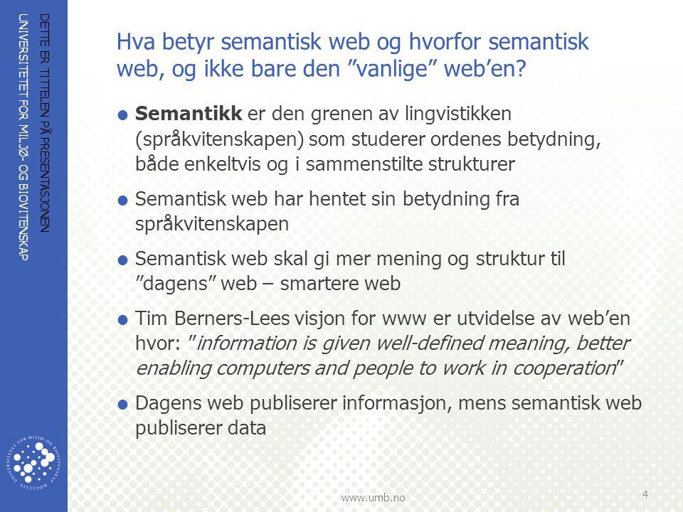 UNIVERSITETET FOR MILJØ- OG BIOVITENSKAP www.umb.no Hva betyr semantisk web… (forts.)  Semantisk web gir mening til informasjon ved at data kan deles og prosesseres av maskiner – maskin til maskin kommunikasjon, men også bedre menneske-maskin samhandling  Semantisk web krever at informasjons bærende enheter på web er tagget med semantisk metadata på en standardisert måte  Standardiseringen gjør det mulig å utveksle, bruke og gjenbruke data og informasjon på web  De viktigste fundamentene for semantisk web er utvikling, registrering og deling av metadata skjemaer og ontologier og teknisk infrastruktur  Den teknologiske infrastrukturen er ikke nok, men vi må forstå den for å kunne utnytte den DETTE ER TITTELEN PÅ PRESENTASJONEN 5