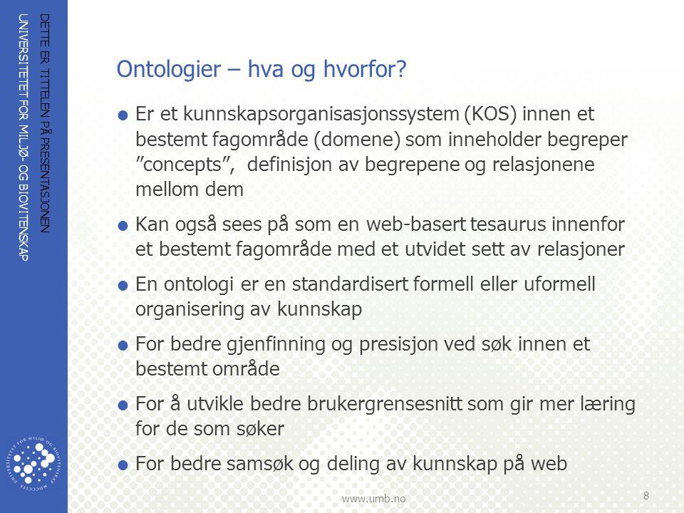 UNIVERSITETET FOR MILJØ- OG BIOVITENSKAP www.umb.no Ontologier – hva og hvorfor?  Er et kunnskapsorganisasjonssystem (KOS) innen et bestemt fagområde
