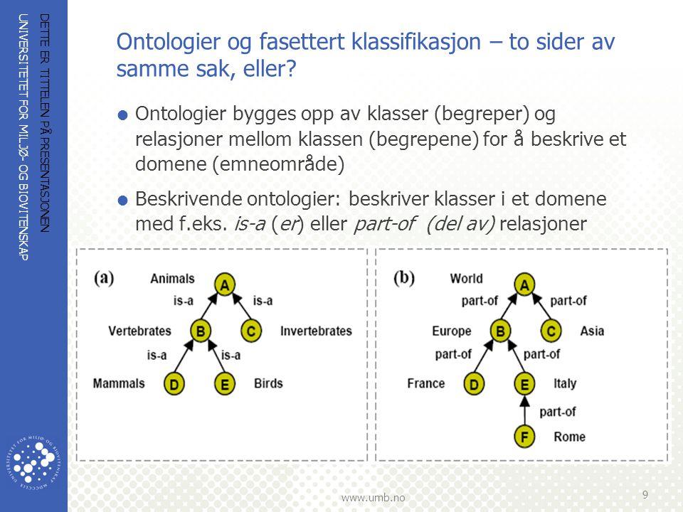UNIVERSITETET FOR MILJØ- OG BIOVITENSKAP www.umb.no Ontologier og fasettert klassifikasjon… (forts.)  Klassifiserende ontologier: kategoriserer begrepene som i fasettert klassifikasjon  Klassifiserende ontologier preger: Bibl.