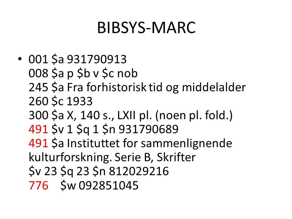 BIBSYS-MARC 001 $a 931790913 008 $a p $b v $c nob 245 $a Fra forhistorisk tid og middelalder 260 $c 1933 300 $a X, 140 s., LXII pl. (noen pl. fold.) 4