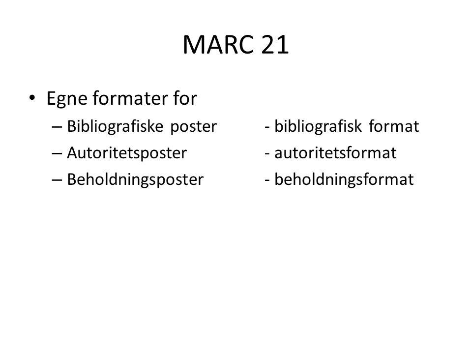 MARC 21 LC-versjon – http://www.loc.gov/marc/ http://www.loc.gov/marc/ OCLC-versjon – http://www.oclc.org/us/en/bibformats/en/ http://www.oclc.org/us/en/bibformats/en/ – http://www.oclc.org/holdingsformat/en/default.h tm http://www.oclc.org/holdingsformat/en/default.h tm