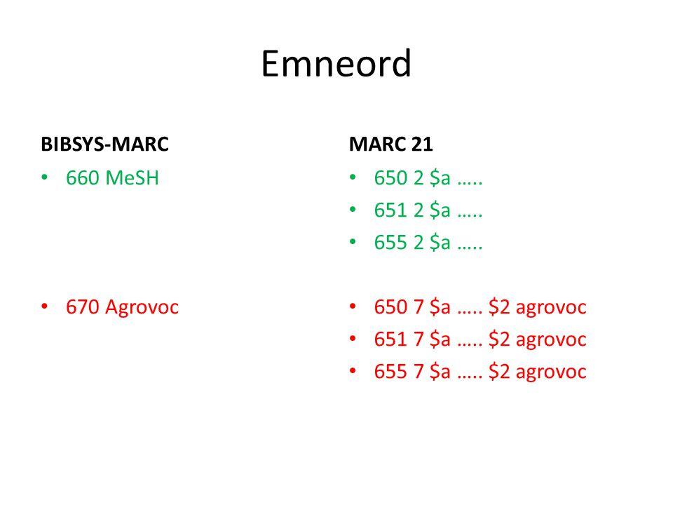 Emneord BIBSYS-MARC 660 MeSH 670 Agrovoc MARC 21 650 2 $a ….. 651 2 $a ….. 655 2 $a ….. 650 7 $a ….. $2 agrovoc 651 7 $a ….. $2 agrovoc 655 7 $a ….. $
