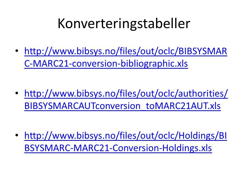 Bibliografiske poster Variable kontrollfelter (Fixed fields, Ldr, 008 og 007) – Veldig forskjellig fra BIBSYS-MARC Variable datafelter – Ganske likt BIBSYS-MARC – Nytt: Bruk av indikatorer – (tegnsetting –ISBD- men det slipper vi å bruke) – Avhengigheter mellom verdier i OCLC-MARC – Lenkepraksis, arven etter BIBSYS
