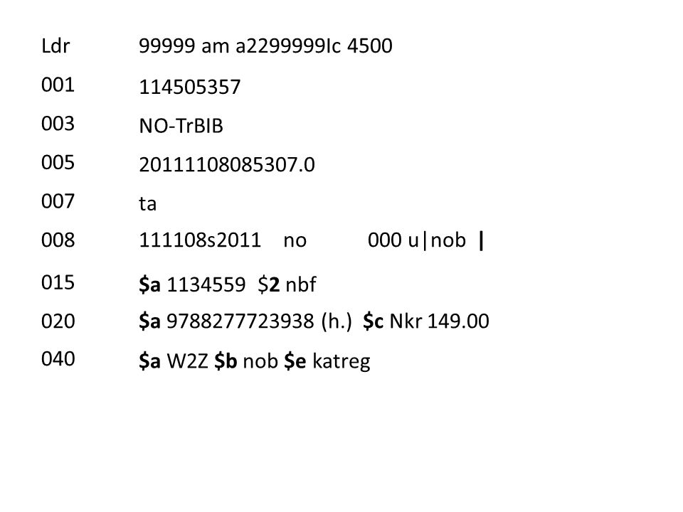 100 ind1= ind2= > $a Lepperød, Janne $0 (NO-TrBIB)x02062636 245 ind1= 0 ind2= 0 > $a Kunst- og håndverkstimen $p 1.-4.