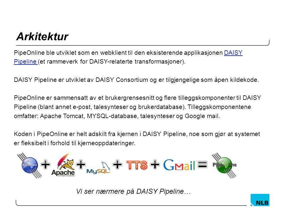 Arkitektur PipeOnline ble utviklet som en webklient til den eksisterende applikasjonen DAISYDAISY Pipeline Pipeline (et rammeverk for DAISY-relaterte