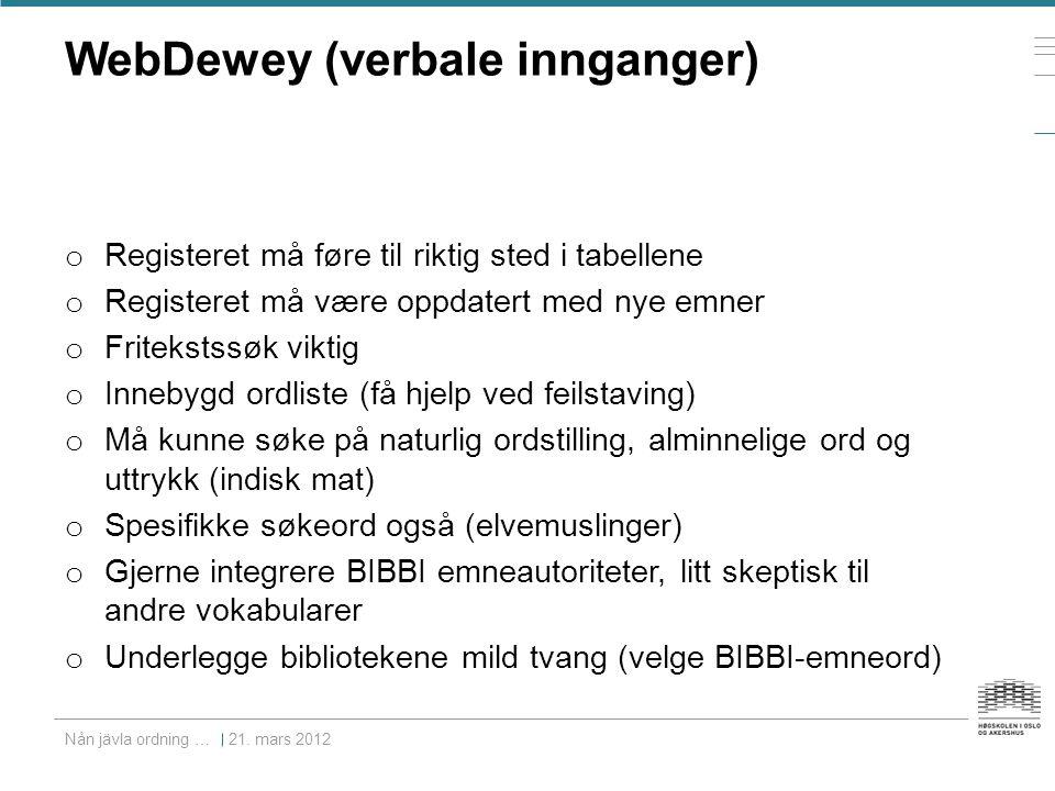 WebDewey (verbale innganger) o Registeret må føre til riktig sted i tabellene o Registeret må være oppdatert med nye emner o Fritekstssøk viktig o Inn