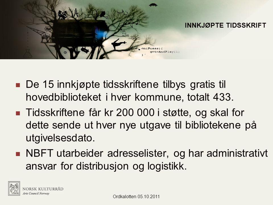 De 15 innkjøpte tidsskriftene tilbys gratis til hovedbiblioteket i hver kommune, totalt 433.
