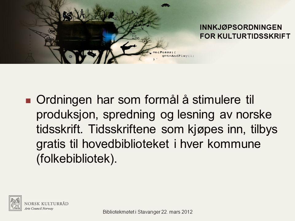Ordningen har som formål å stimulere til produksjon, spredning og lesning av norske tidsskrift.