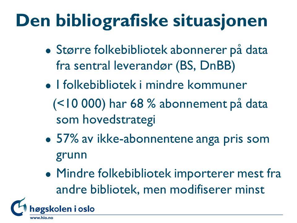Den bibliografiske situasjonen l Det er kvalitetsmessige (betydelige) mangler i katalogene til bibliotek i mindre kommuner (< 3 000), særlig i kommuner uten fagutdannet biblioteksjef l De fleste bibliotek registrerer lokallitteratur fra grunnen av, de minste uttrykker ikke ønske om å ha dette ansvaret l Fagbibliotek utenfor BIBSYS: 54,5 % egenproduksjon, 43,1 % kopiering, 3,4 % abonnement l Til tross for noen forbedringer: det er generelt sett ikke lagt godt til rette for effektiv import og bearbeiding av data i biblioteksystemene