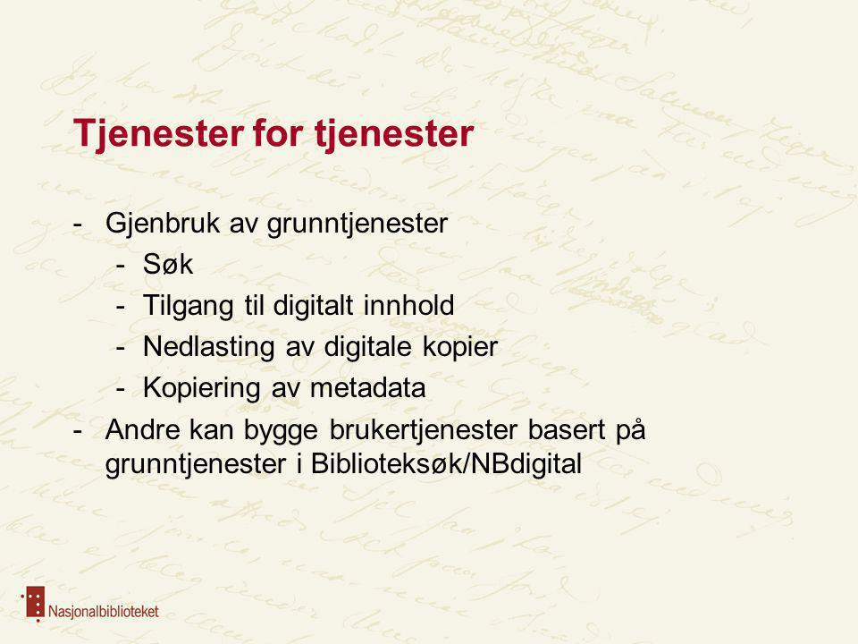 Tjenester for tjenester -Gjenbruk av grunntjenester -Søk -Tilgang til digitalt innhold -Nedlasting av digitale kopier -Kopiering av metadata -Andre ka