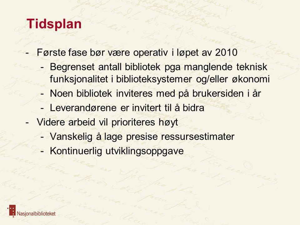 Tidsplan -Første fase bør være operativ i løpet av 2010 -Begrenset antall bibliotek pga manglende teknisk funksjonalitet i biblioteksystemer og/eller