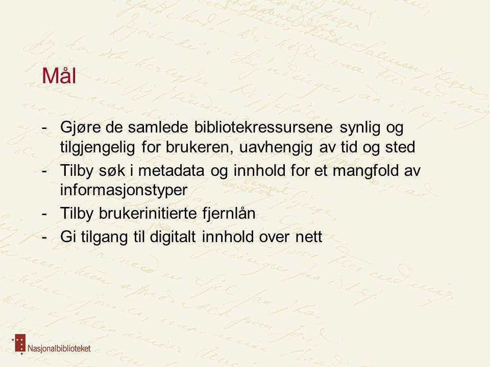 Søk i alt Lokale Biblioteksystemer -Flere systemplattformer -BIBSYS Sentral Søketjeneste + NBdigital Kopiering av metadata Søk Digitalisering