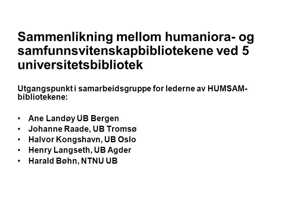 Sammenlikning mellom humaniora- og samfunnsvitenskapbibliotekene ved 5 universitetsbibliotek Utgangspunkt i samarbeidsgruppe for lederne av HUMSAM- bi