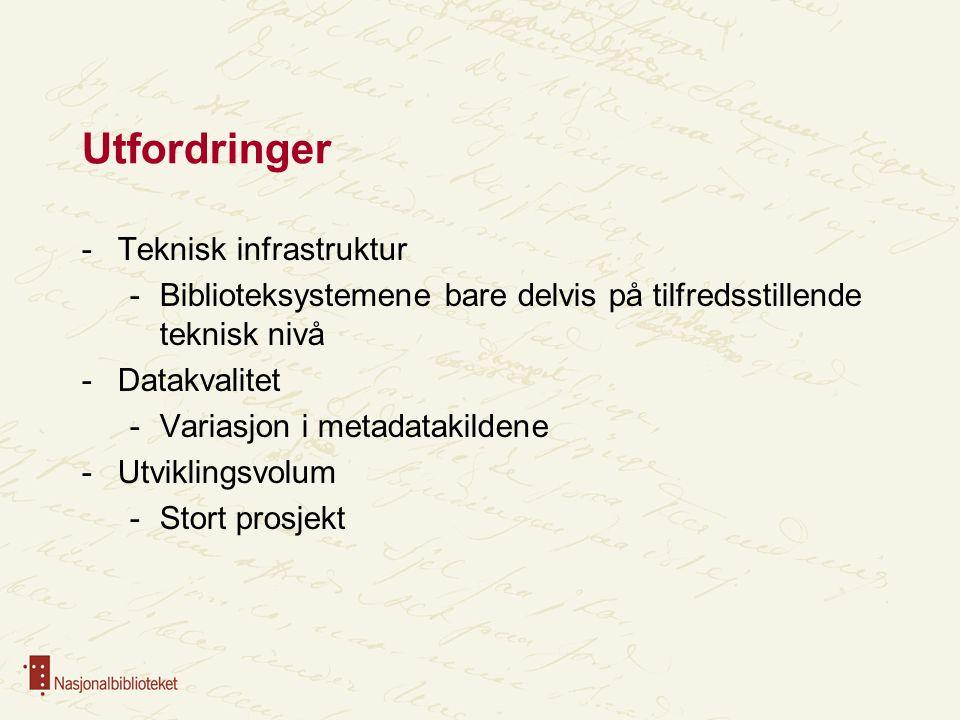 Utfordringer -Teknisk infrastruktur -Biblioteksystemene bare delvis på tilfredsstillende teknisk nivå -Datakvalitet -Variasjon i metadatakildene -Utviklingsvolum -Stort prosjekt