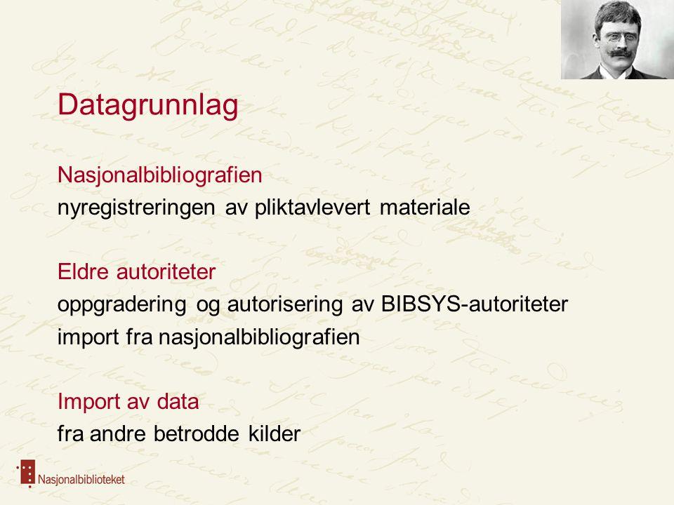 Datagrunnlag Nasjonalbibliografien nyregistreringen av pliktavlevert materiale Eldre autoriteter oppgradering og autorisering av BIBSYS-autoriteter im