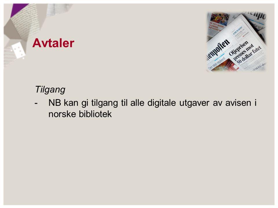 Avtaler Tilgang - NB kan gi tilgang til alle digitale utgaver av avisen i norske bibliotek