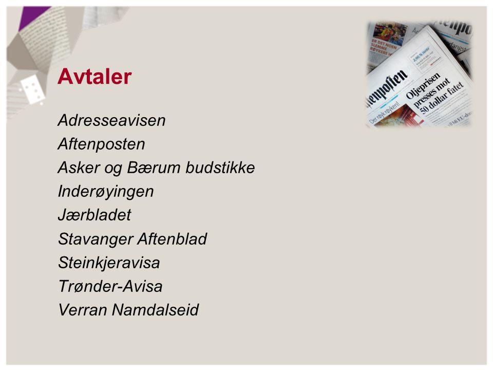 Avtaler Adresseavisen Aftenposten Asker og Bærum budstikke Inderøyingen Jærbladet Stavanger Aftenblad Steinkjeravisa Trønder-Avisa Verran Namdalseid