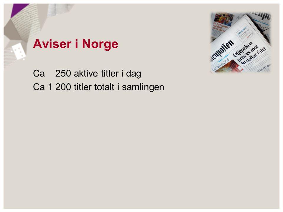 Aviser i Norge Ca 250 aktive titler i dag Ca 1 200 titler totalt i samlingen