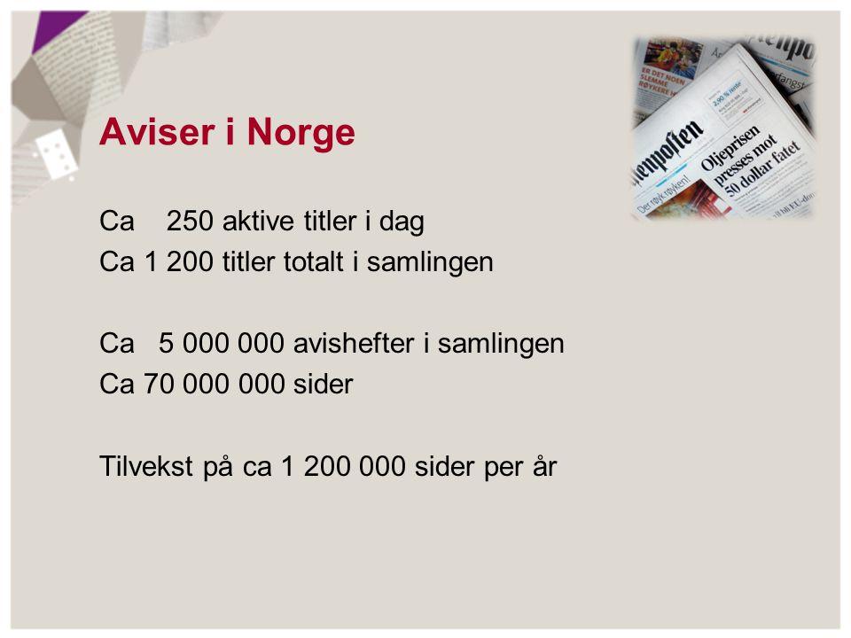 Aviser i Norge Ca 250 aktive titler i dag Ca 1 200 titler totalt i samlingen Ca 5 000 000 avishefter i samlingen Ca 70 000 000 sider Tilvekst på ca 1