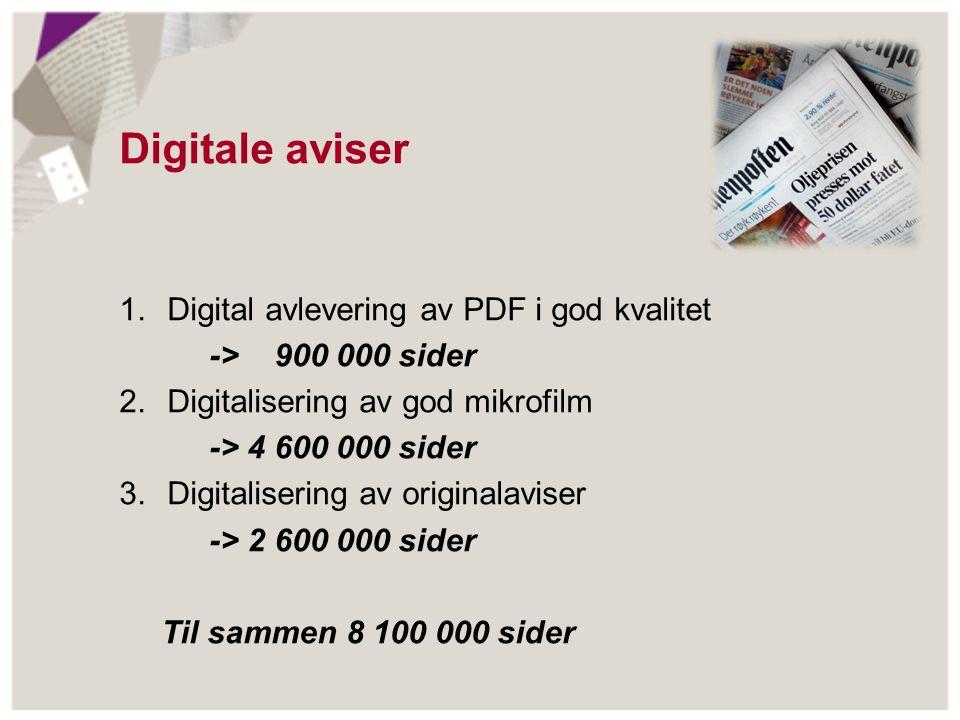 Avtaler Digitalisering - Deler på kostnadene - Administreres av NB - NB bevarer digital master